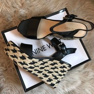 Nine West Black Faux Leather Wedges